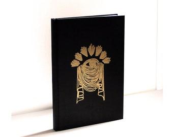 Embossed Mourning Eye Sketchbook Gold Black Hard Back Sketch Book Blank A5