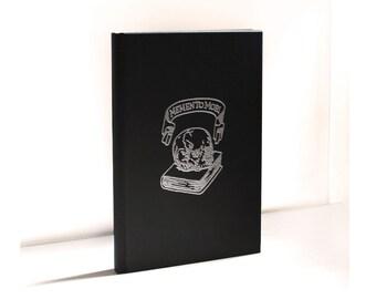 Memento Mori Printed Sketchbook Silver Black Hard Back Sketch Book Blank A5