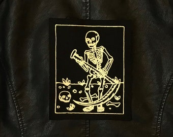 Large Death Tarot Card Patch, Gold on Black, Sew On, Fabric, Back, Gothic