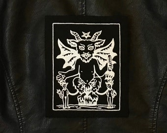 Large Devil Tarot Card Patch, Silver on Black, Sew On Fabric, Back, Gothic