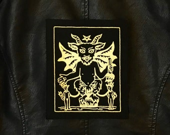 Large Devil Tarot Card Patch, Gold on Black, Sew On, Cotton, Back, Gothic