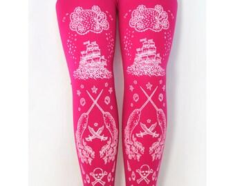 Pirate Print Pink Tights, Medium, Tall, White on Bright Pink, Rose, Nautical, Cyber, Lolita, Raver