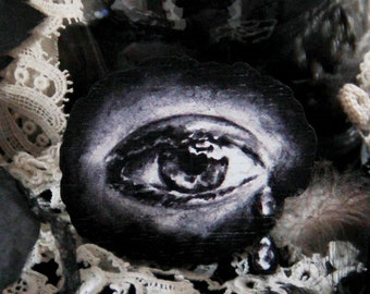 Crying Eye Brooch, Victorian Mourning Jewelry, Gothic Lolita