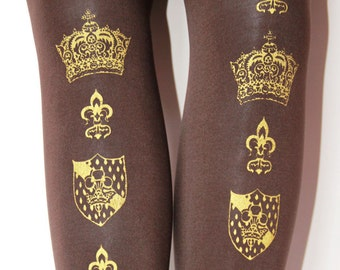 Crown Print Tights Small Medium Gold on Brown Printed Womens Hime Lolita Dolly Kei Winter Tights
