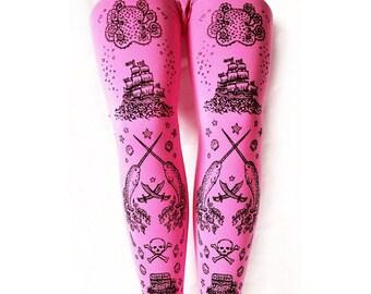 Kawaii Tights, Narwhal Print, Black on Candy Pink, Bright, Pirate, Tattoo, Medium, Large, Tall, Lolita, Fairy Kei, women's