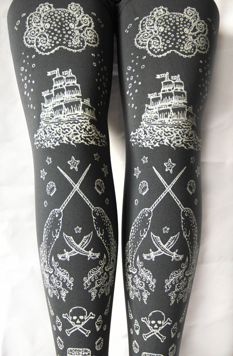 0a7533cfc5d Pirate Grey Tights Narwhals Small Medium White on Slate Grey