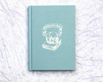 Goth Notebook, Embossed White Skull Pastel Blue. Hard Back Note Book, Lined, Ruled, A5, Kawaii, Sweet Lolita