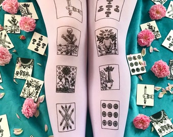Tarot Tights, LIMITED EDITION, Black Print on Lilac, Lavender. Gothic Lolita, Pastel Goth Nu