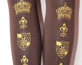 Crown Printed Tights, Medieval Inspired. Medium, Large, Tall Size, Gold on Chocolate Brown, Thick 120 D. Womens Fleur De Lys Lolita Style.