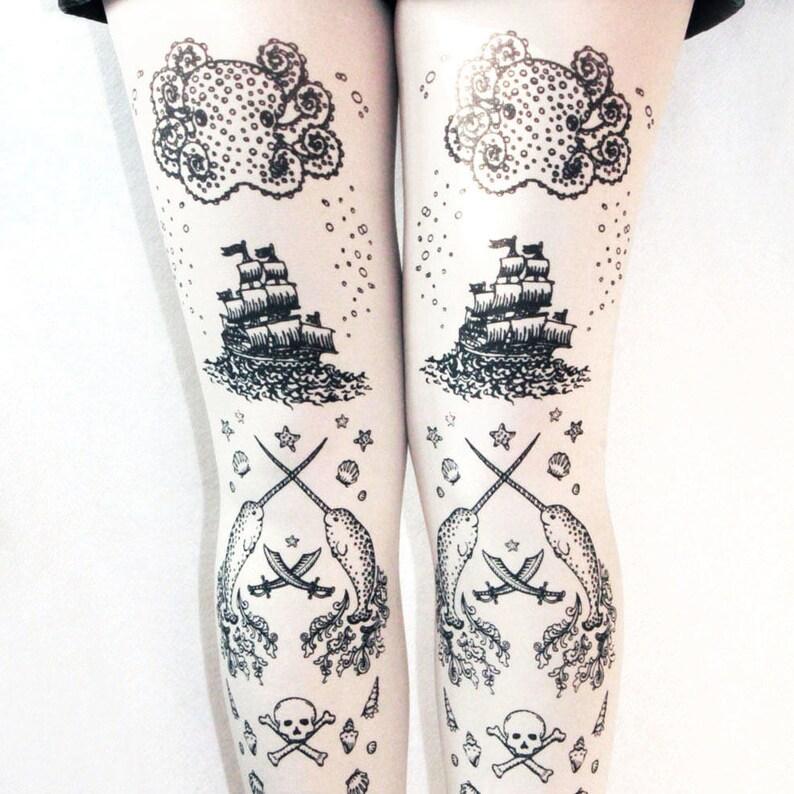 Black on White Sailor Lolita Small to Plus Size Nautical Pattern Pirate Costume Women/'s Tattoo Printed Tights