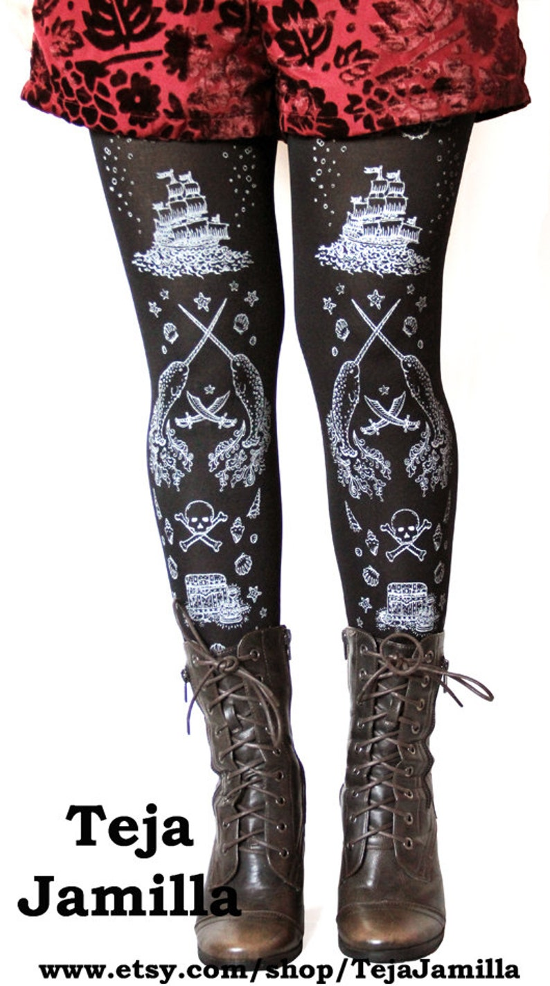 3bfb07953c1 Sailor Lolita Narwhal Tights Silver on Black All Sizes Tattoo
