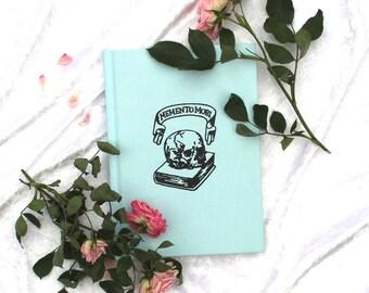 Kawaii Goth Notebook, Black Skull on Pastel Blue. A5 Hard Back, Lined, Ruled. Creepy Cute, Lolita