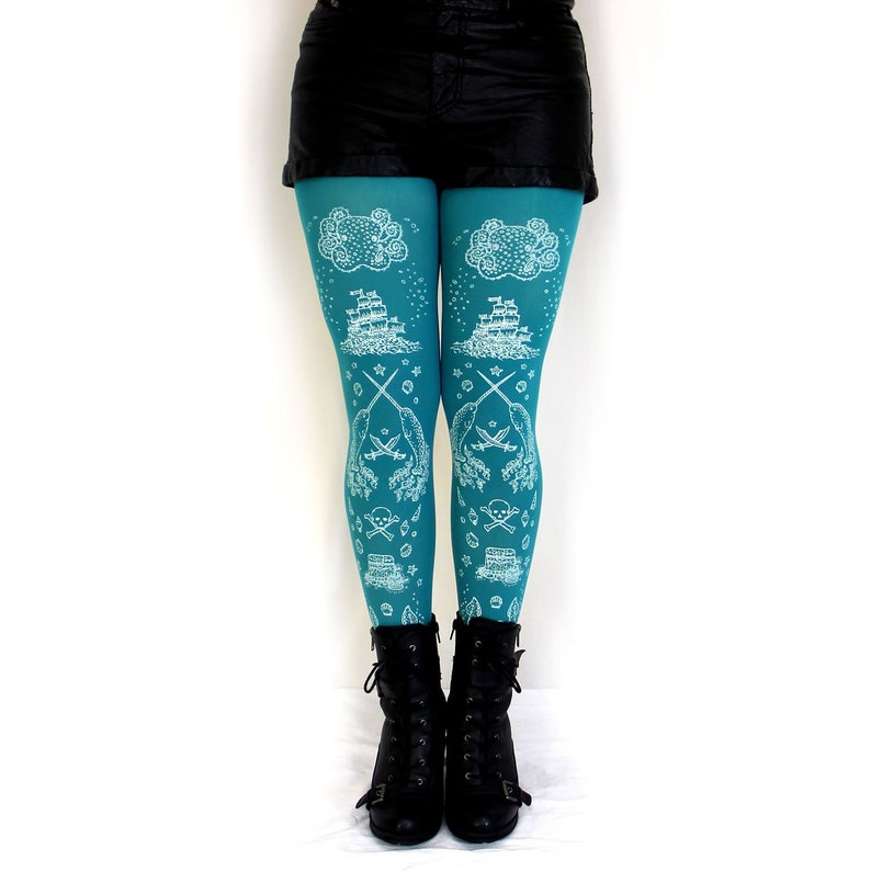 e071e5d64251f Ocean Printed Tights Sea Green Teal Narwhal Pirate Print in | Etsy