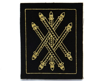 Tarot Card Patch, Five of Wands, Gold on Black, Sew On Fabric Badge, Gothic
