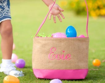 Personalized Burlap Pink Easter Basket