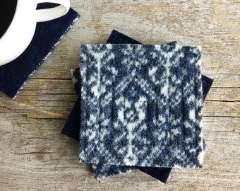 Wool Coasters / Nordic BLUE & WHITE Felted Sweater Wool Coasters Fair Isle / Recycled Mug Rugs / Home Decor Housewarming Gift by WormeWoole
