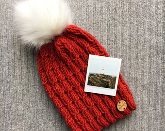 HARBOR LIGHT Red Wool Blend North Shore Beanie Faux Fur Pom Pom Hand Knit Wool Hat Toque Gift for Women by WormeWoole
