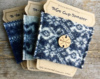 Coffee Cozy BLUE ASSORTED You Choose Sweater Wool To-Go Cup Reusable Sleeve Cosy Teacher or Coworker Gift Card Holder Unisex by  WormeWoole