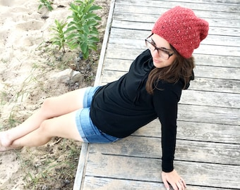 Adventure Beanie YOU CHOOSE COLOR Hand Knit Wool / Alpaca Slouchy Beanie Unisex Slouch Hat Gift Under 50 for Women Men