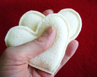 Pocket Hand Warmers Fleece VANILLA CREAM Hearts Eco Friendly Handwarmers as Seen on One Good Thing by Jillee Gift Guide by WormeWoole