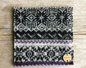 Wool Pot Holders / Hot Pads PURPLE & BLACK Gray Fair Isle Sweater Wool Hotpads Potholders Eco Home Decor Foodie Gift by WormeWoole