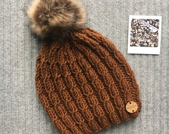AGATE Wool Blend North Shore Beanie Faux Fur Pom Pom Brown Mohagany Hand Knit Cabled Wool Hat Toque Gift for Women by WormeWoole