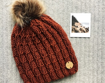 SANDSTONE Wool Blend North Shore Beanie Faux Fur Pom Pom Brown RUST Hand Knit Cabled Wool Hat Toque Gift for Women by WormeWoole