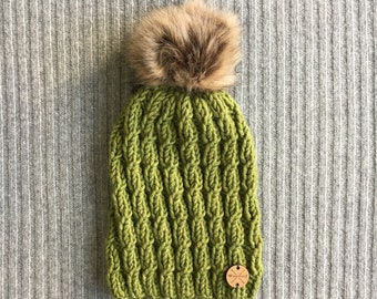 GREEN LICHEN Wool Blend North Shore Beanie Faux Fur Pom Pom Green Hand Knit Wool Hat Toque Gift for Women by WormeWoole