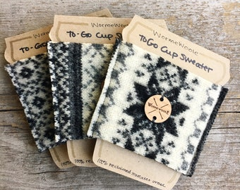 Coffee Cozy BLACK & GRAY White You Choose Sweater Wool To-Go Cup Reusable Sleeve Cosy Teacher Coworker Unisex Gift Card Holder WormeWoole