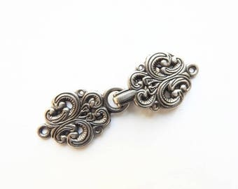 Norwegian Sweater Clasps ONE SET Sew On / Antiqued Silver Pewter Color Clasp Hook and Eye Frog Closure Scandinavian Nordic, Lot No. 12