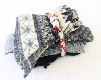 Destash Wool Scraps BLACK & GRAY Fair Isle and Solid Felted Sweater Wool Fabric Scrap Pack Wool Pieces Craft Supplies by WormeWoole