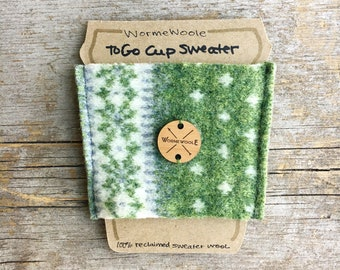 Coffee Cozy GREEN Felted Sweater Wool To-Go Cup Reusable Sleeve Cosy Teacher Coworker Unisex Gift Card Holder WormeWoole