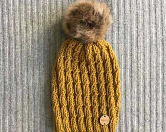 GOLD LICHEN Wool Blend North Shore Beanie Mustard Yellow Faux Fur Pom Pom Hand Knit Wool Hat Toque Gift for Women by WormeWoole