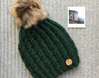 EVERGREEN Wool Blend North Shore Beanie Faux Fur Pom Pom Green Hand Knit Wool Hat Toque Gift for Women by WormeWoole