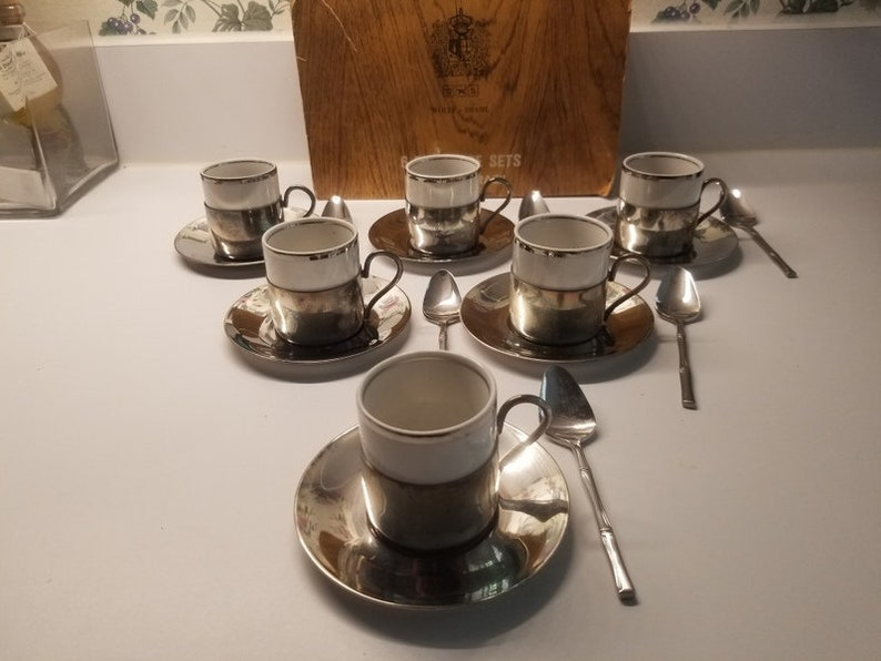 Vintage Wolf-Brasil 6 cupsaucers Demitasse Silver Plated coffee Set  and 6 bamboo style spoons Demitasse stainless Japan