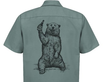 Beer Drinking Grizzly Bear Shirt for Homebrewer Craft Beer Brewer Brewery Work Shirt, Great Gift for Homebrewing Beer Lover