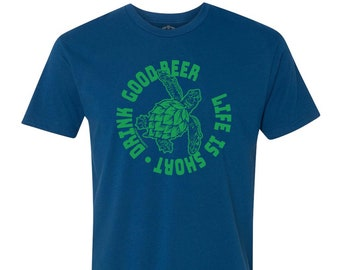 Hoppy Sea Turtle Unisex Graphic Tee for Craft Beer Lover, Homebrewing Shirt, Great Gift for Homebrewer