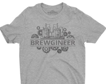 Brewgineer Unisex Graphic Tee for Home brewers and Craft Beer Lover, Beergineer Shirt