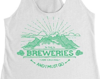 Ladies Beer Shirt, The Breweries Are Calling Mountains, Racerback Tank, Gift for Beer Girl, Beer Yoga, Craft Beer Shirt, Workout Tank