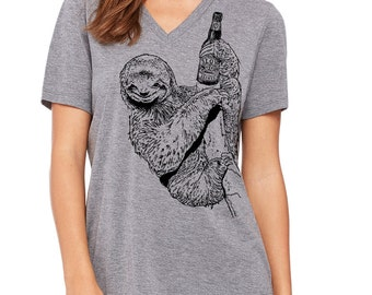 Craft Beer Shirt, Cute Beer Girl Shirt, Craft Beer Drinking Sloth, Ladies Vneck Sloth Shirt, Spirit Animal, Beer Lovers Gift, Beer Festival