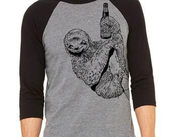 Sloth Shirt, Craft Beer, Funny Beer Shirt, Beer Gift, Homebrewer Gift, Baseball Tee, Graphic Tee, Oktoberfest, Birthday, Christmas Gift