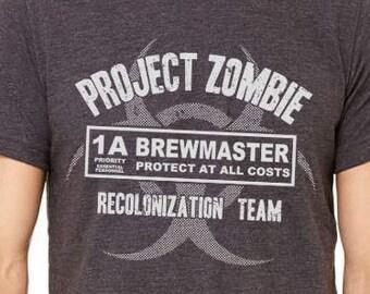 Brewmaster Homebrewer Shirt, Brew Day, Craft Beer Shirt, Homebrewing, Zombie Apocalypse, Brewing Beer, Halloween Zombie Apocolypse Costume,