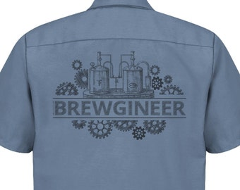 Brewgineer Craft Beer Brewer Brewery Work Shirt for Homebrewer, Great Gift for Beer Lover