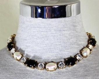 Vintage Christian Dior Black White Gold Chunky Diamante Choker Necklace