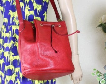 Vintage Christian DIOR RED Leather Bucket Drawtop Shoulder Bag France