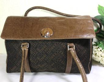 14a8cf76c35 Vintage CERRUTI 1881 Canvas Leather Duffle Doctor Travel Bag Shoulder Bag