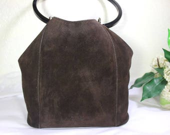 Vintage GUCCI Chocolate Brown Suede Leather Drawtop Shoulder Bag Italy