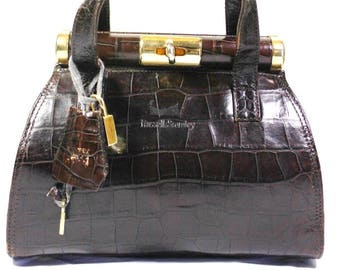 Vintage Russel & Bromley Crocodile Print Leather Brown Hand Bag Italy