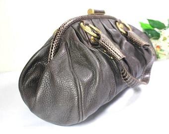 90 s Vintage Dolce   Gabbana Brown with Snake Leather Framed Top Shoulder  Bag Italy 616f28d42c