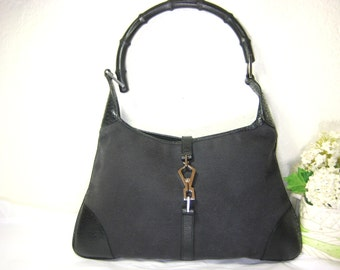 2bf187863 GUCCI Jackie O Lobster Clasp Black Canvas & Leather Hobo Shoulder Bag  Bamboo Italy